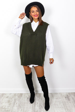 Totally Clueless - Khaki 2 in 1 Knitted Vest And Shirt