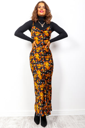 Touch Of Autumn - Gold Black Floral Maxi Dress
