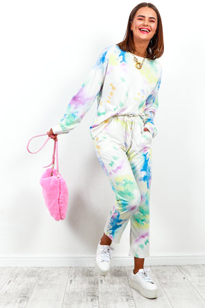 Tracksuit Coordinate Set White Multi Tie Dye- DLSB Women's Fashion