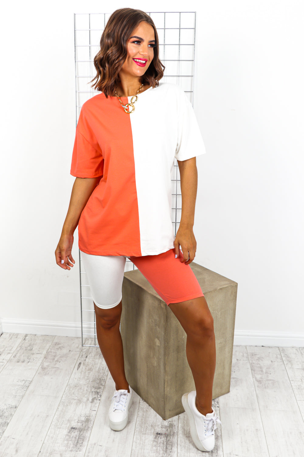Coral And White Contrast Cycle Short And T-shirt Coordinate Set DLSB Womens Fashion