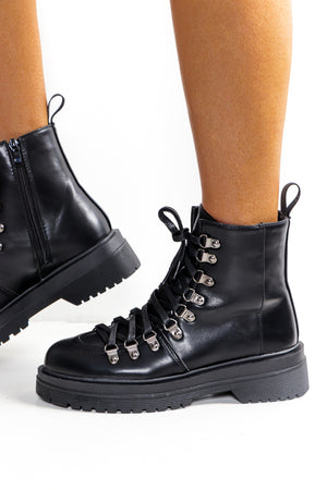 Up A Hike - Black Lace Up Boot