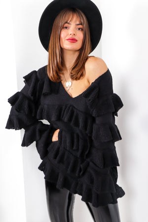 Utterly Frilled - Black Knitted Jumper