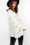 Utterly Frilled - Cream Knitted Jumper