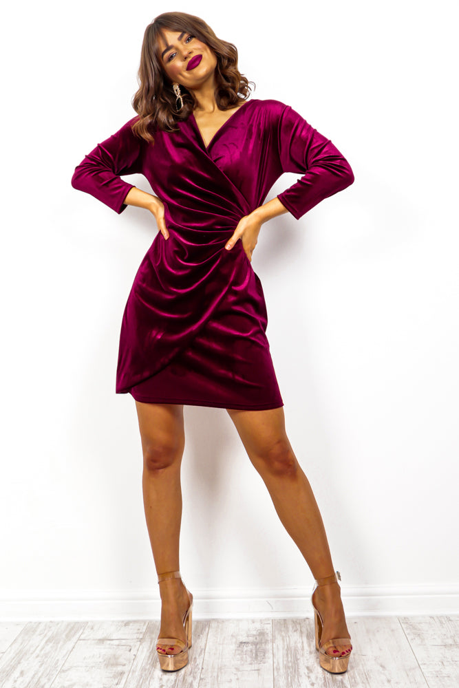 Velvet Dreams - Wine Velvet Wrap Dress