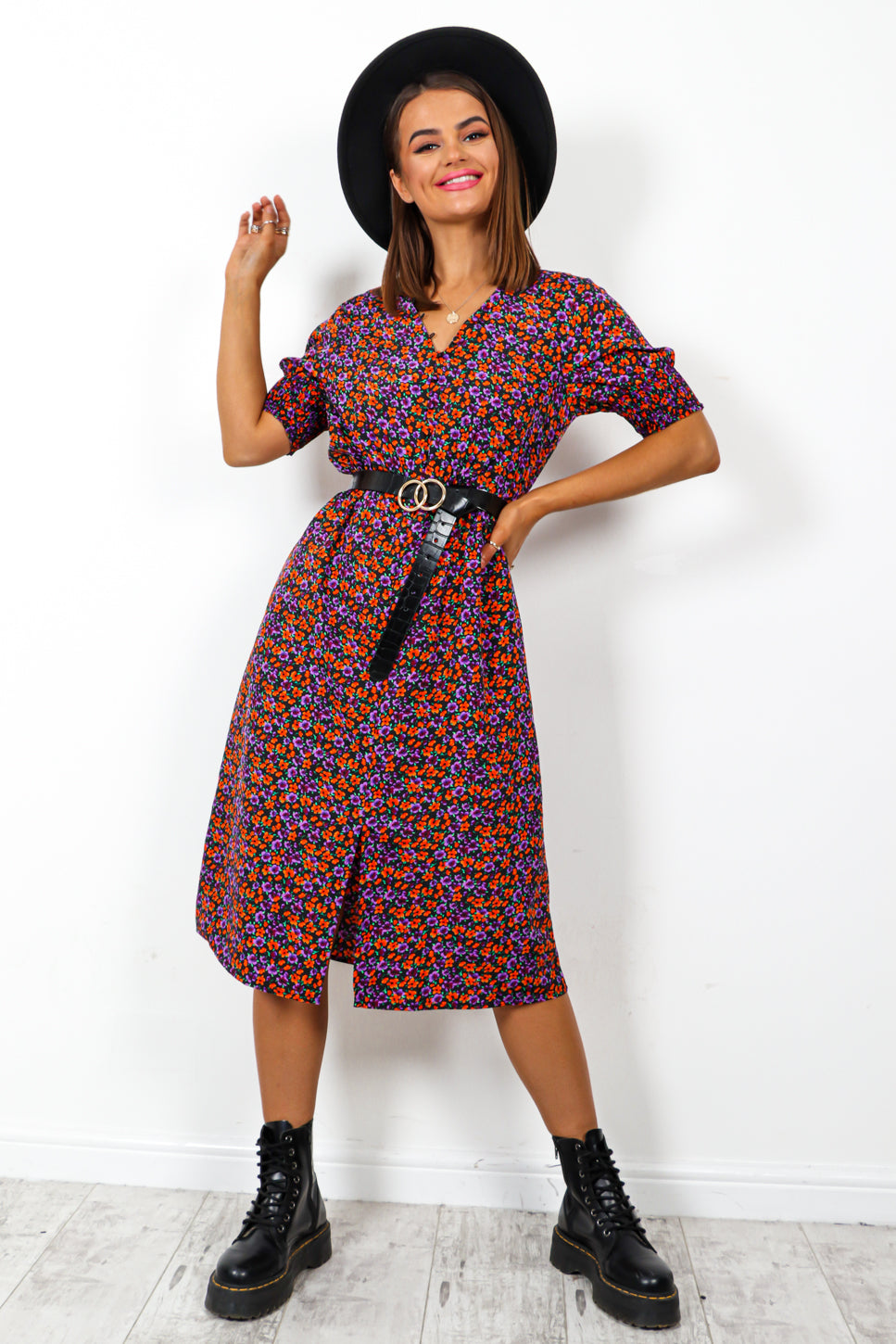 Wait A Midi - Black Purple Orange Floral Print Midi Dress