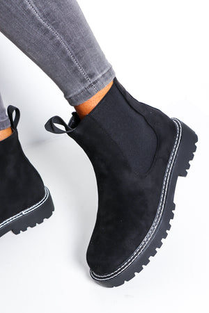 Walk My Way - Black Suede Ankle Boot