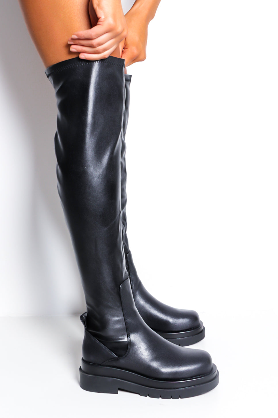 Walk On - Black Pu Knee High Boot