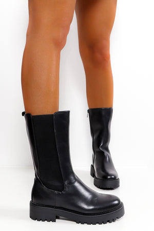 Walk That Walk - Black Pu Calf Boot