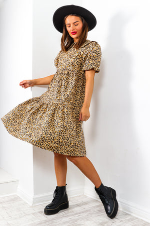 Wanna Go Wild? - Beige Leopard Midi Dress