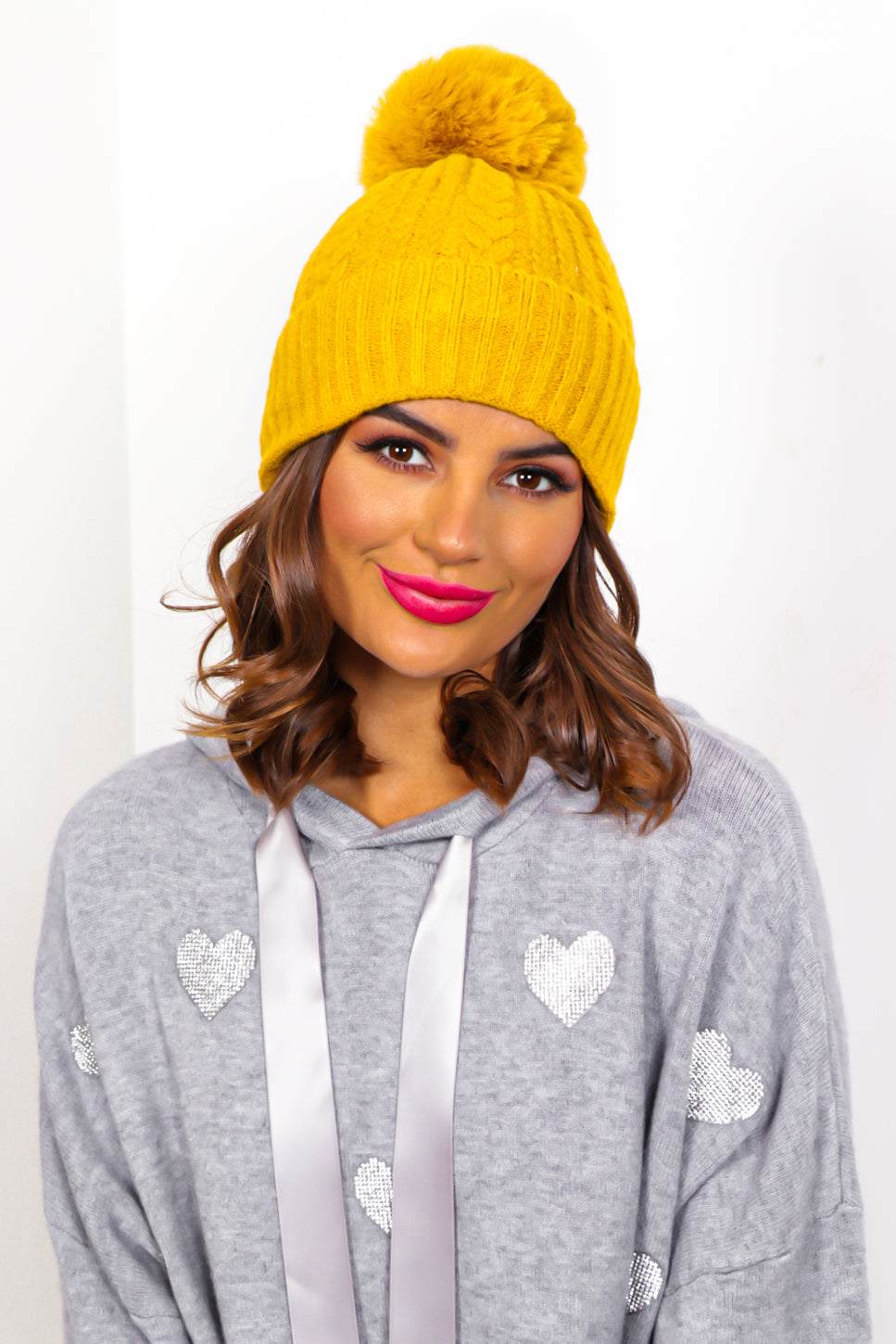 Warm Again - Mustard Cable Knit Pom Pom Hat