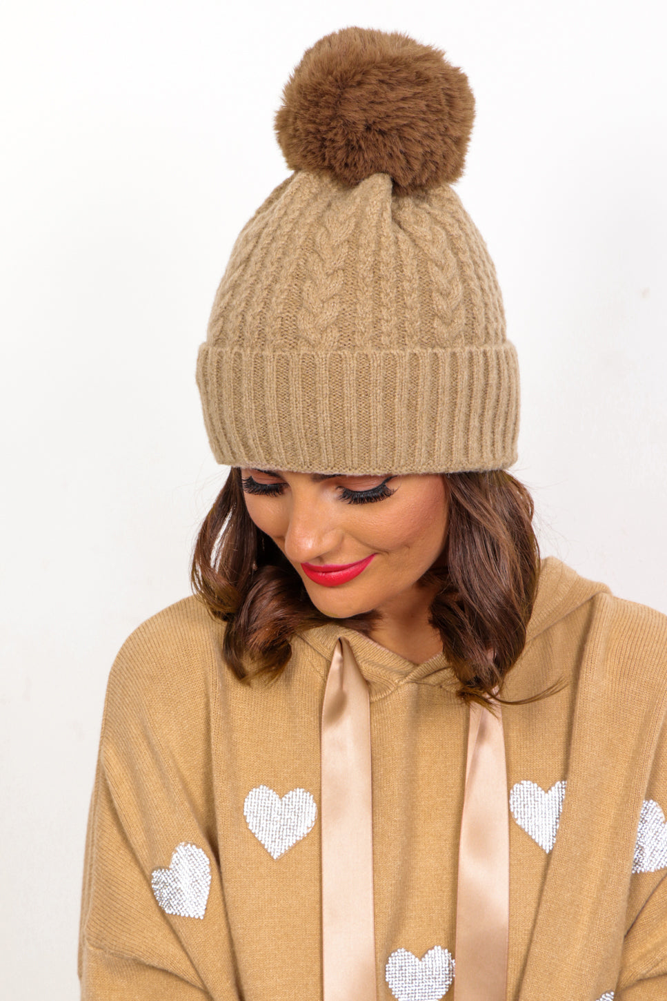 Warm Again - Taupe Cable Knit Pom Pom Hat