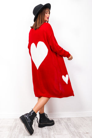 Warm Hearted - Red Heart Print Cardigan Co-ord