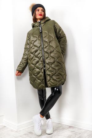 We Found Love - Khaki Quilted Coat