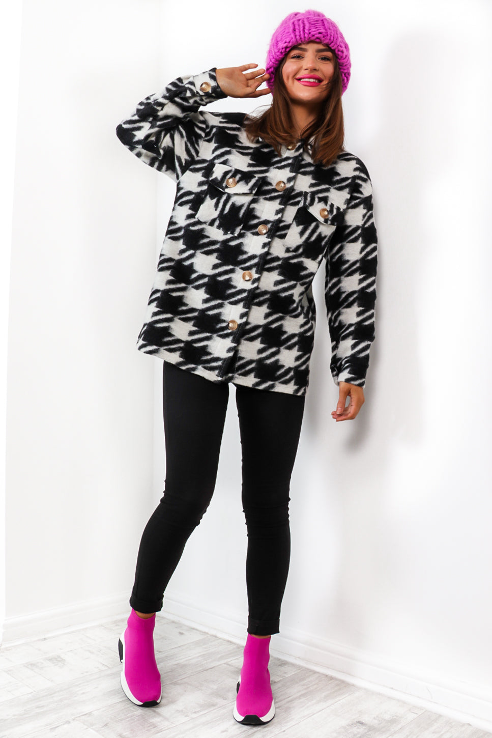 We Hound Love - Black White Houndstooth Shacket