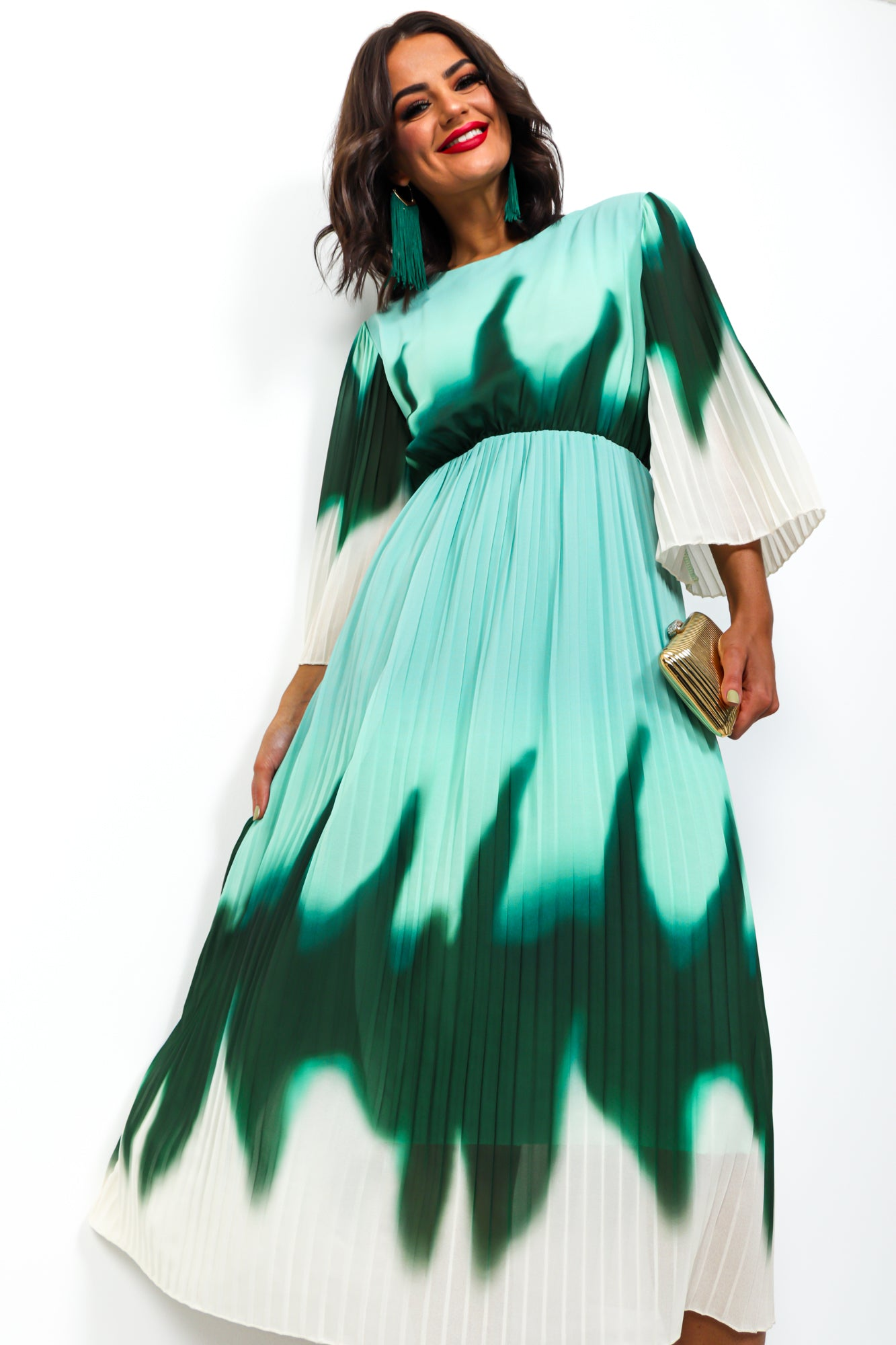 We Aim To Pleat - Midi Dress In GREEN/OMBRE