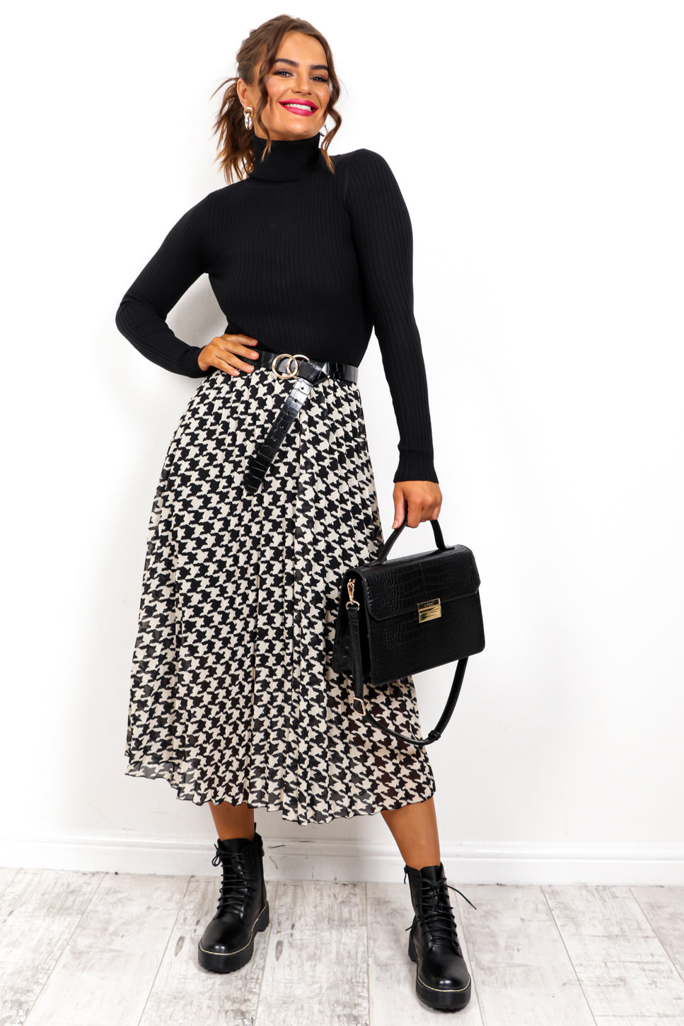 We'll Pleat Again - Black White Houndstooth Midi Skirt