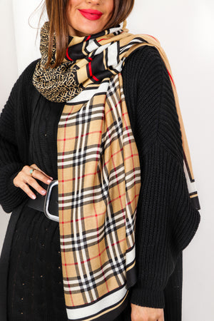 We're Scarf Way There - Beige Multi Print Scarf