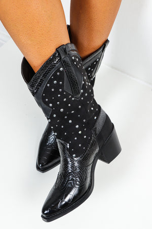 Western Girl - Black Studded Heeled Boots