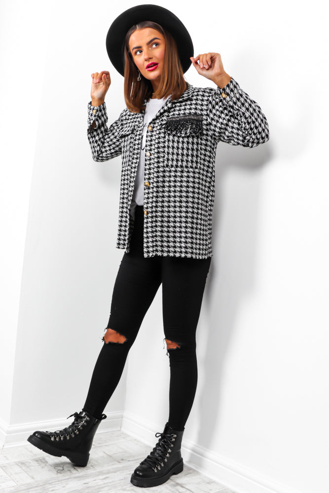 What's The Tooth? - Black White Houndstooth Shacket