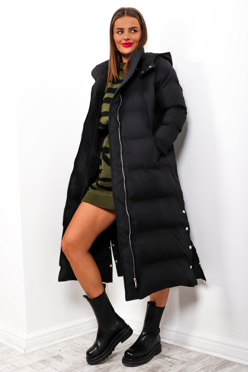 Whats Poppin - Black Longline Puffer Coat