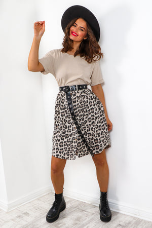 What's The Tee - Beige Leopard Smock T-shirt Dress