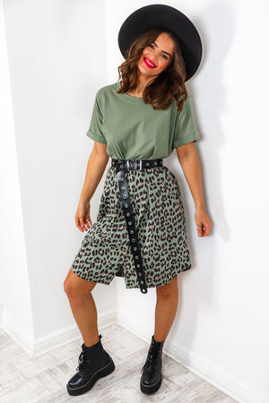 What's The Tee - Khaki Leopard Smock T-shirt Dress