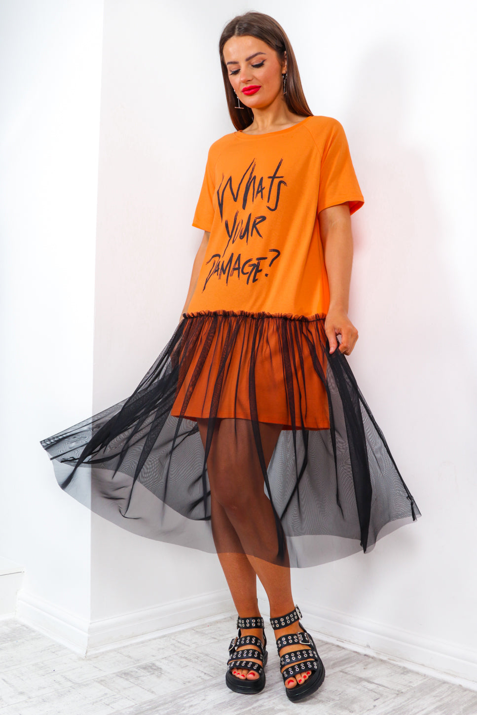 What's Your Damage - Orange T-Shirt Dress