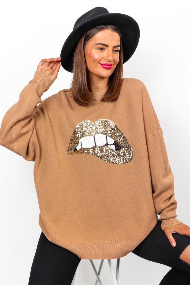 When You Kiss Me - Beige Gold Sequin Jumper