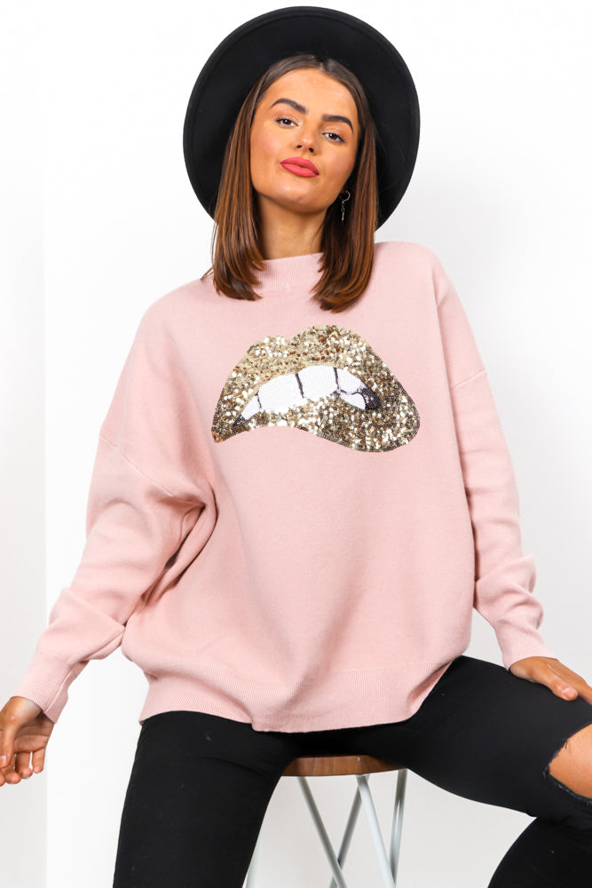 When You Kiss Me - Pink Gold Sequin Jumper
