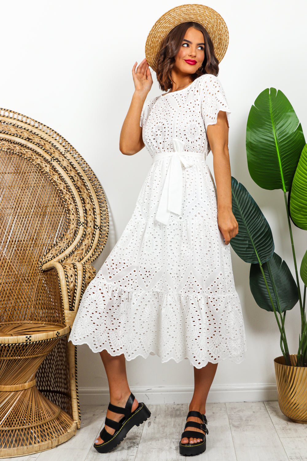 White Broderie Anglaise Midi Dress DLSB Womens Fashion
