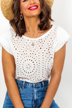 White Broderie Anglaise Shoulder Pad Top DLSB Womens Fashion