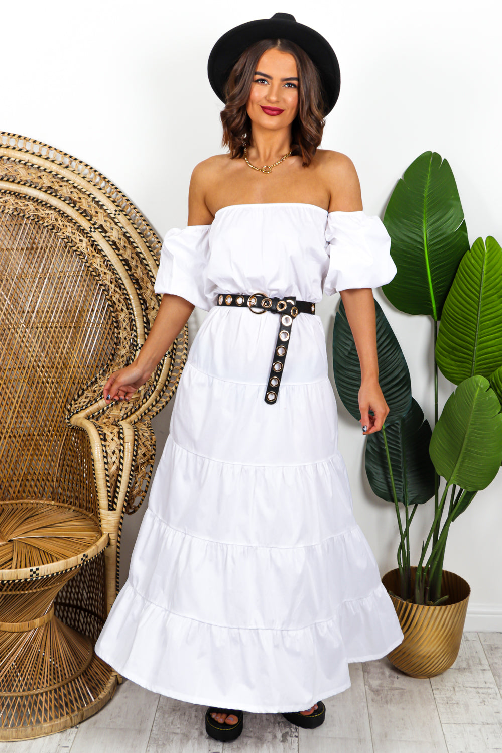 White Tiered Maxi Dress DLSB Womens Fashion