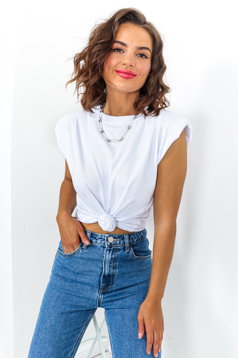 White Shoulder Pad Tank Top