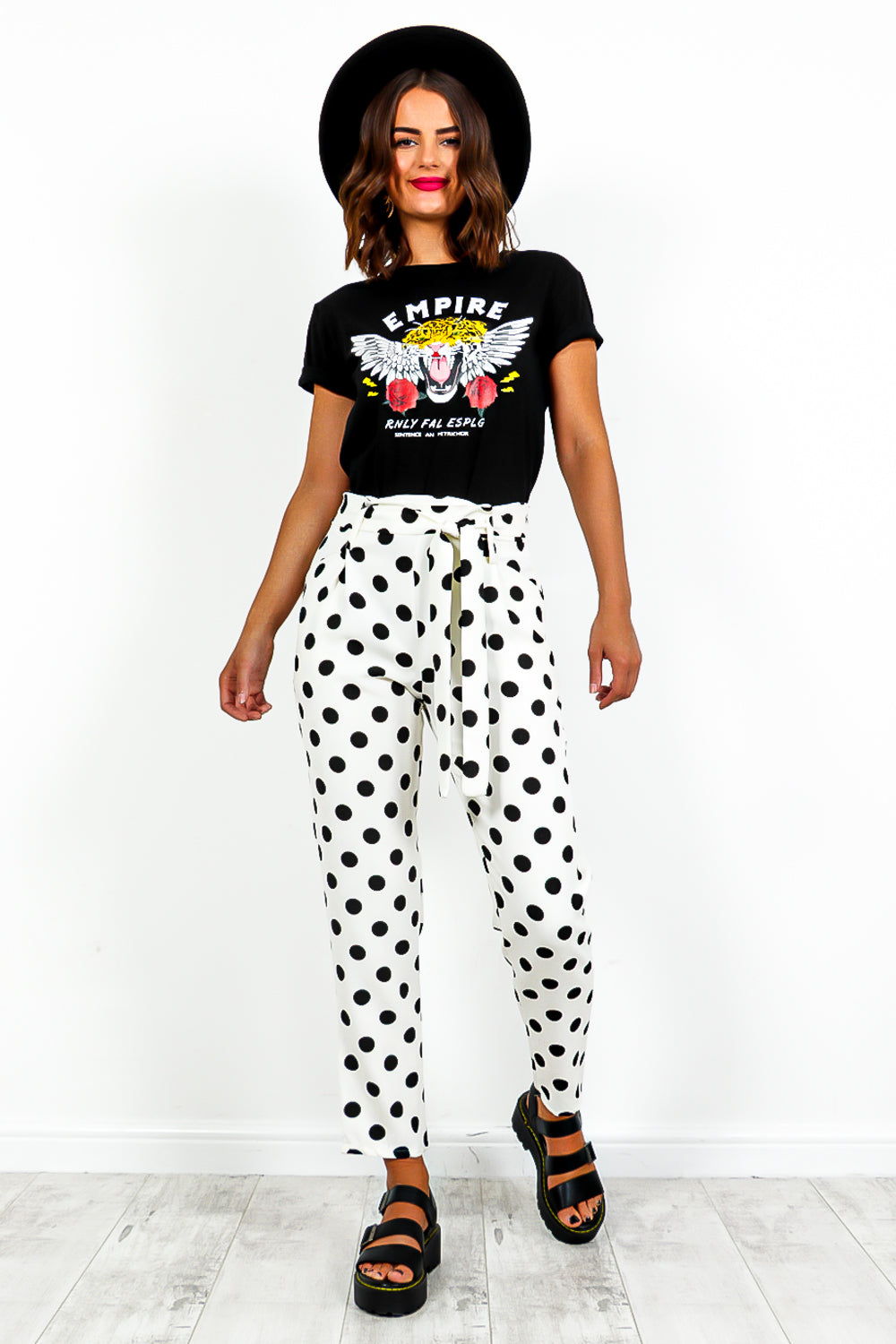 White Black Polka Dot Trousers