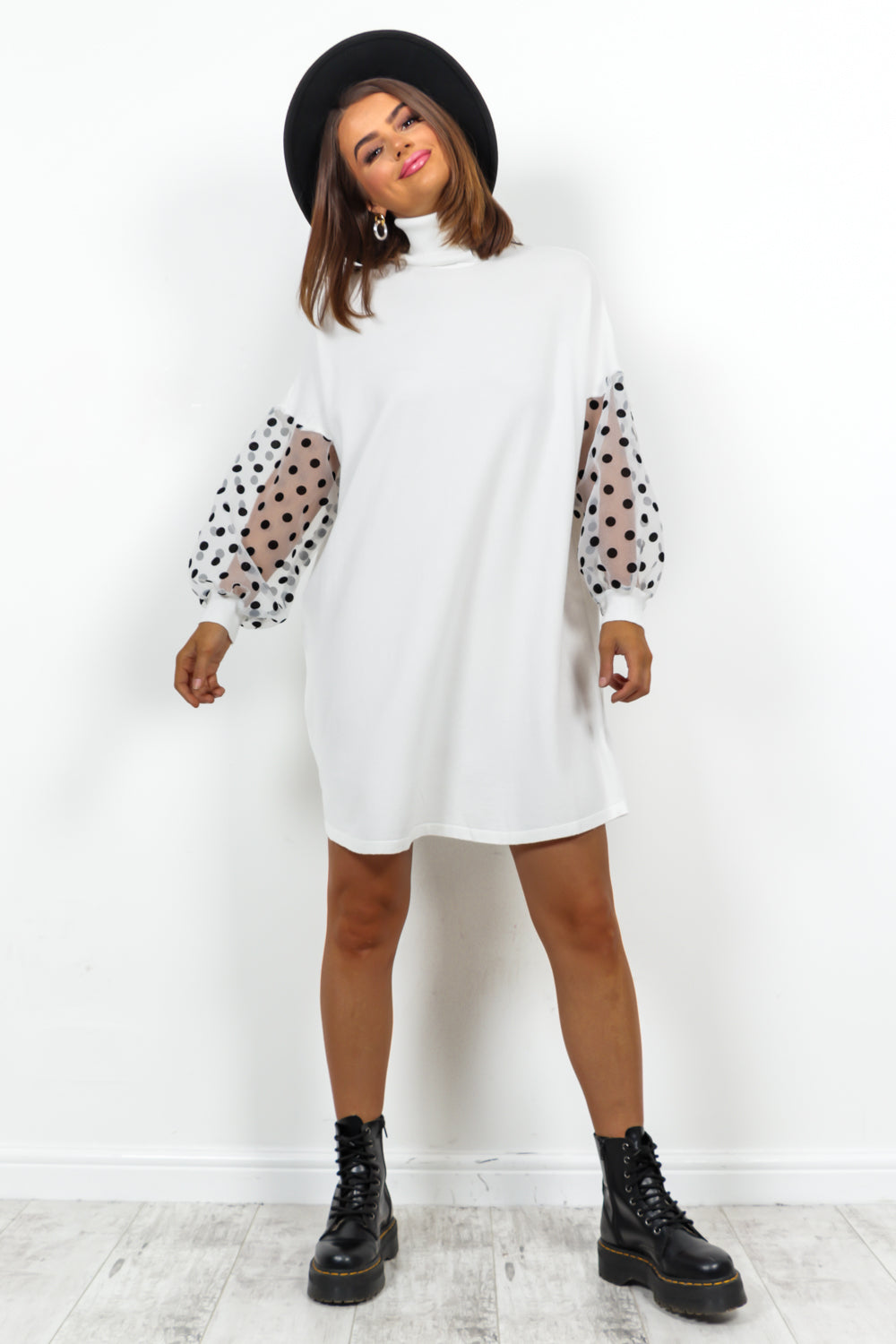 White Mesh Polka Dot Sleeve Roll Neck Knitted Dress