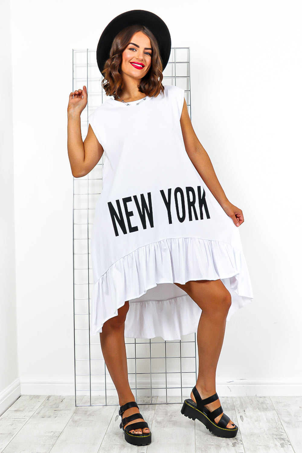 White New York Slogan Top Dress