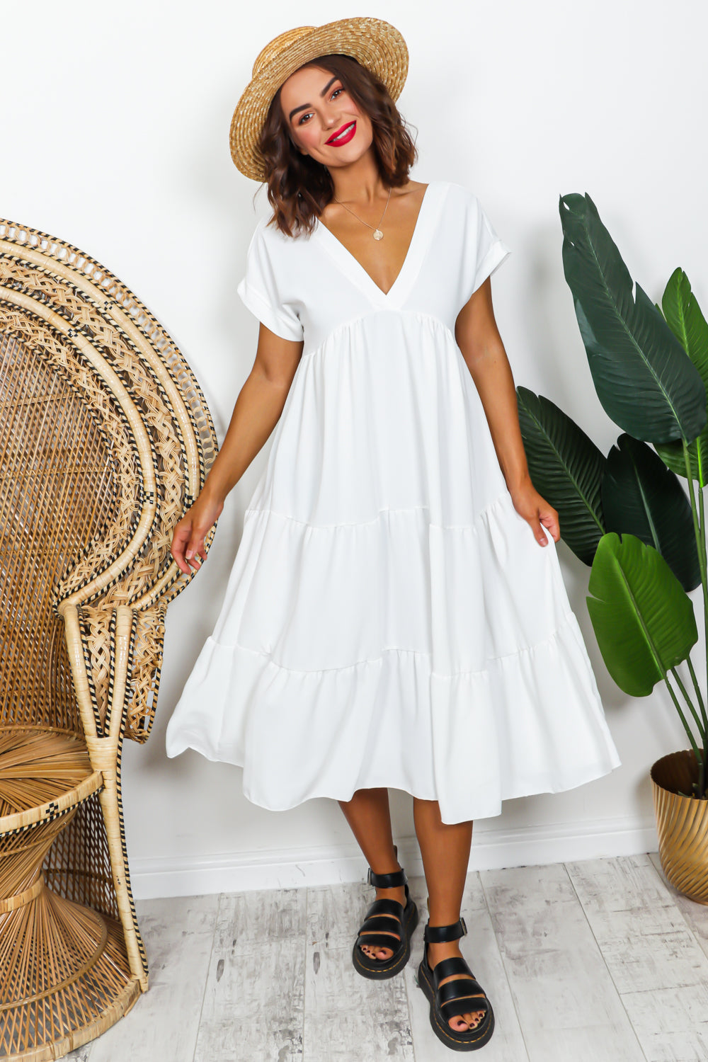 White Tier Midi Dress