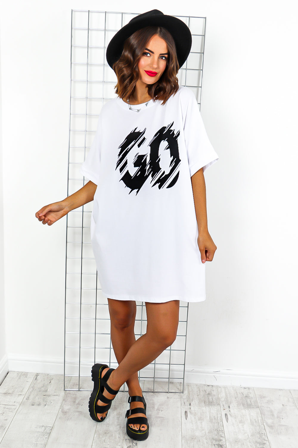 White Slogan T-shirt Dress