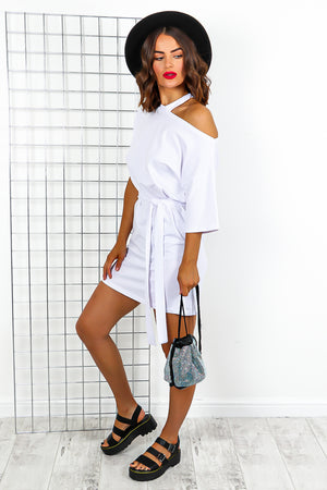 White Tie Belt Off The Shoulder Mini Dress