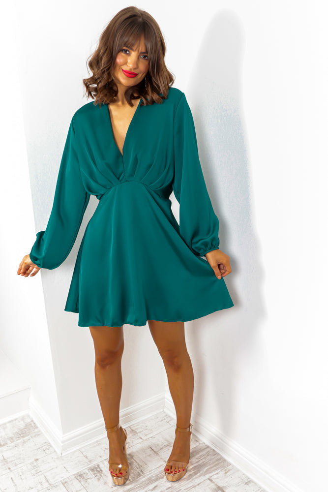 Why Dont You Wing It? - Teal Batwing Mini Dress