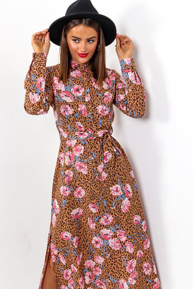 Wild At Heart - Beige Leopard Floral Midi Dress