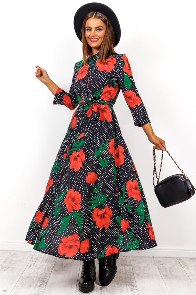 Wild Flower - Black Red Floral Maxi Dress