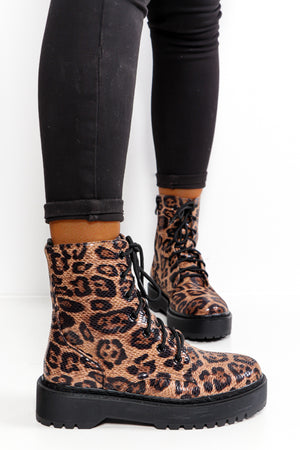 Wild Nights - Leopard Lace Up Boot