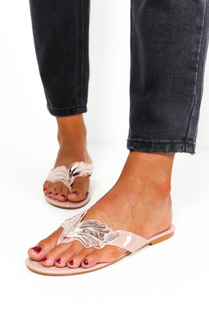 Wing Detail Slider Sandals Rose Gold- DLSB Womens Fashion