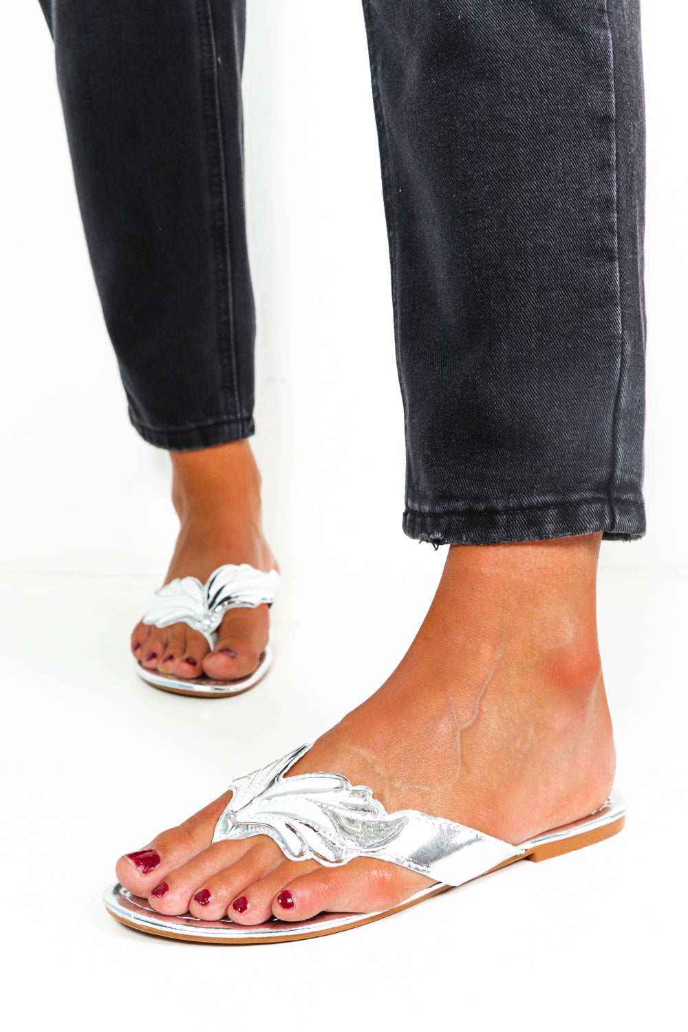 Wing Detail Slider Sandals Silver- DLSB Womens Fashion