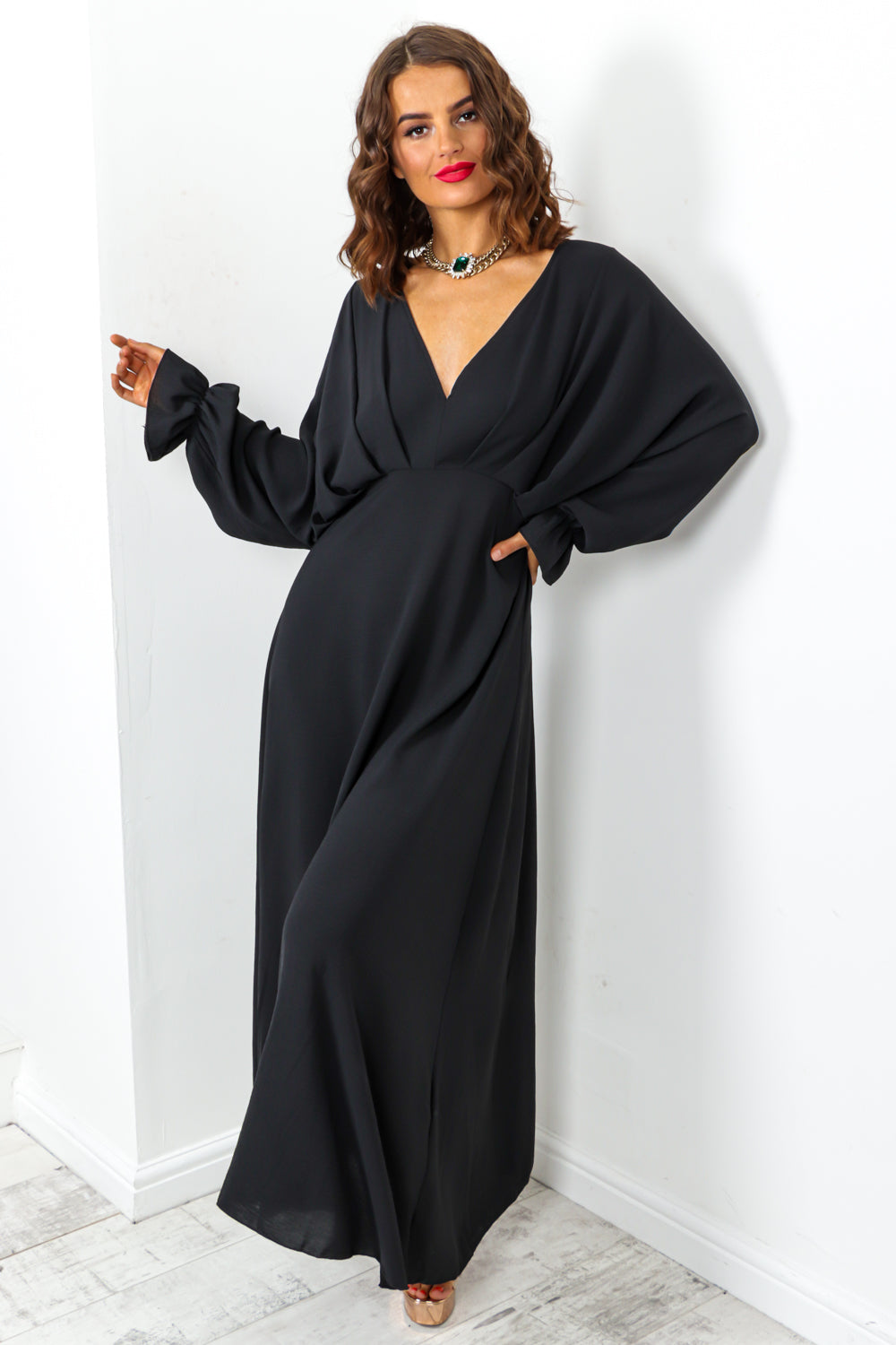 Black Batwing Long Sleeved Maxi Dress