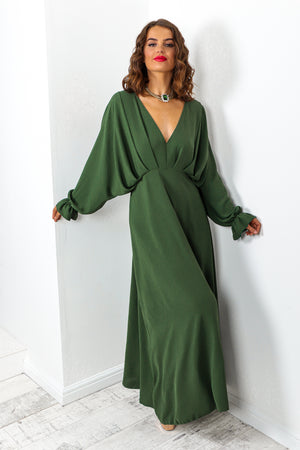 Forest Batwing Long Sleeved Maxi Dress