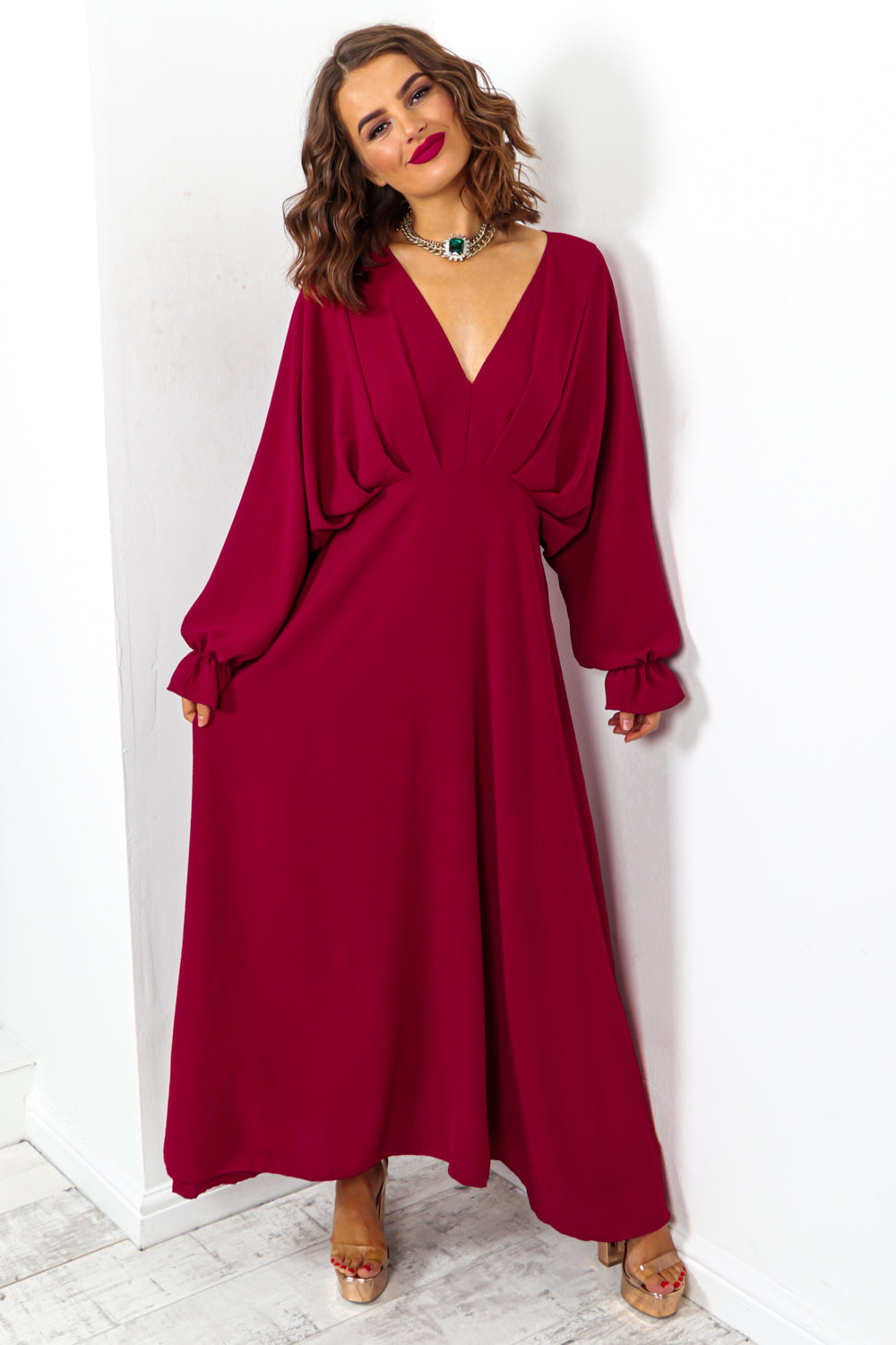 Wine Batwing Long Sleeved Maxi Dress