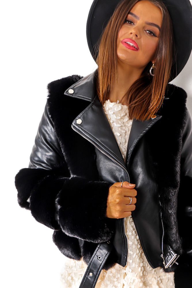 Winter Queen - Black Fur Biker Jacket With Buckle