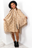 Winter Walks - Beige Cream Printed Scarf